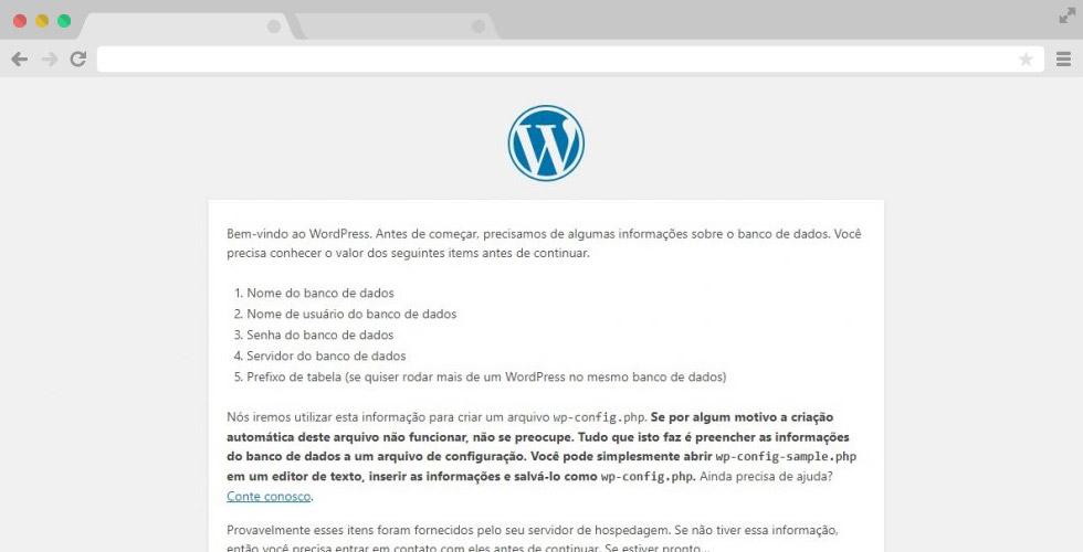 Iniciando instalação WordPress