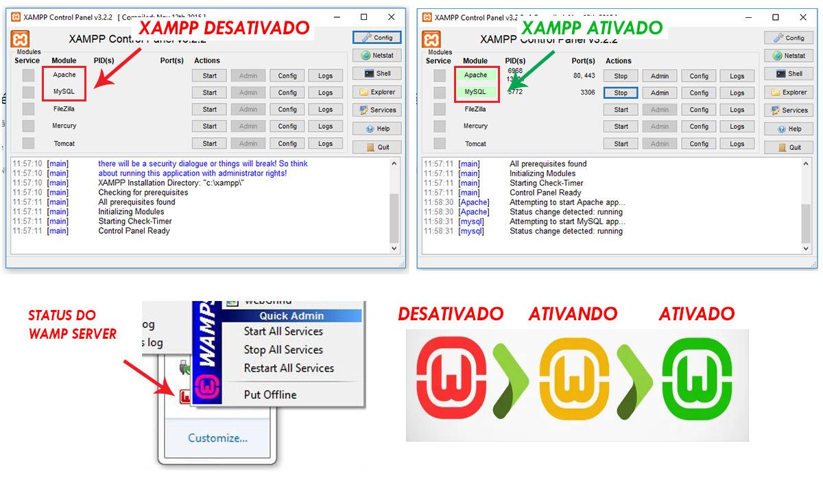 Status do servidor local - Wamp ou Xampp