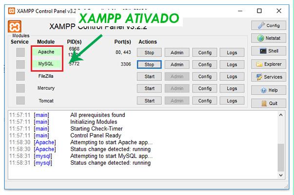 Xampp inicializando com sucesso