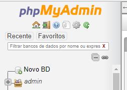 Criar banco de dados phpMyAdmin