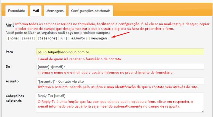 Configurando destinatário e cordo do e-mail - Contact form 7