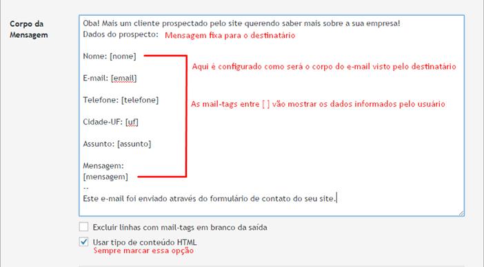 Configurando corpo do e-mail - Contact Form 7