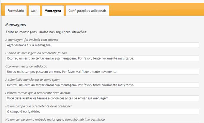 Configurando mensagens Contact form 7