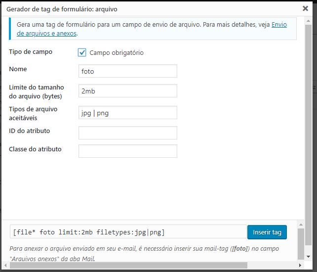 Criar campo para anexar arquivo Contact form 7