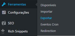 Como exportar páginas e posts WordPress