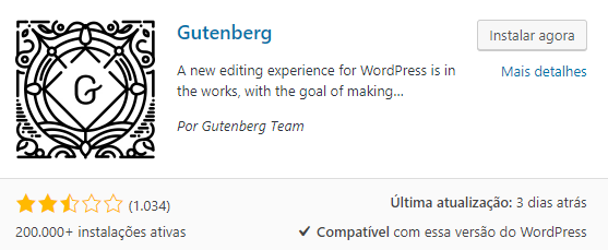 Baixar plugin Gutenberg WordPress