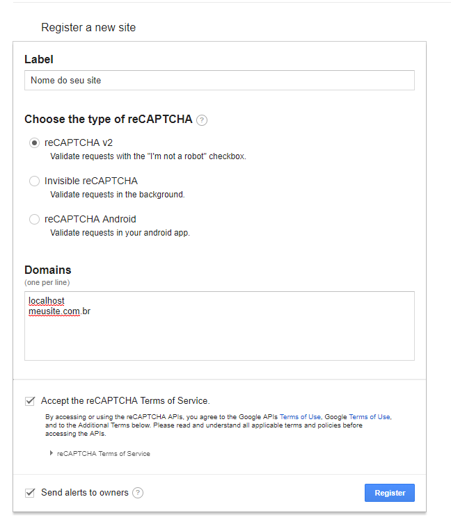 Cadastrando o seu domínio do Google reCAPTCHA