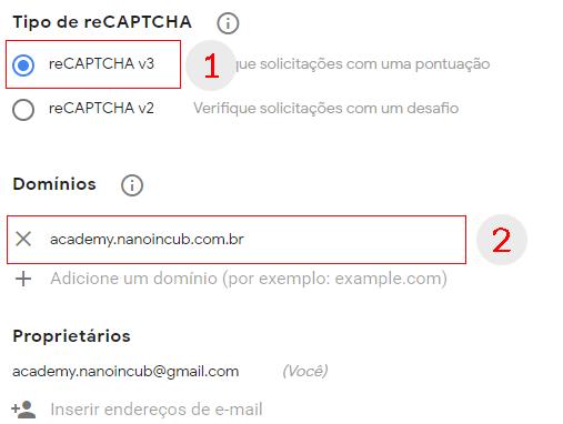 Informações para gerar as chaves do Google reCAPTCHA V3
