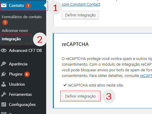 Caminho para inserir as chaves do reCAPTCHA no CF7