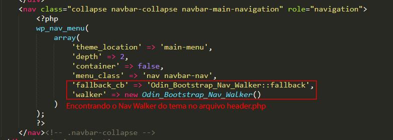 Como chamar o Na Walker no WordPress