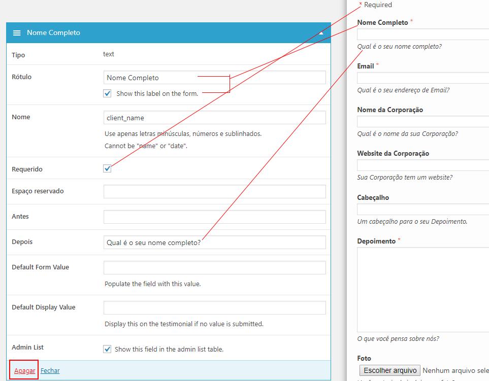 Editando um campo do formulário