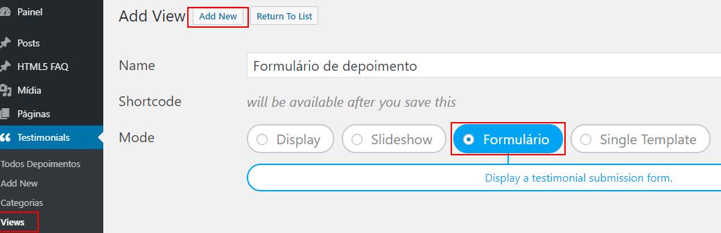 Criando a view do seu formulário