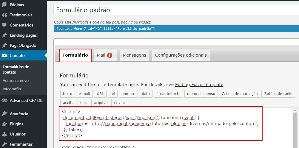 Criar redirecionamento de página sem plugin para Contact Form 7 WordPress