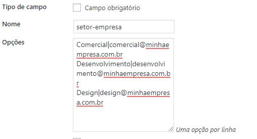 Escolher destinatário com base na opção do select Contact Form 7 WordPress